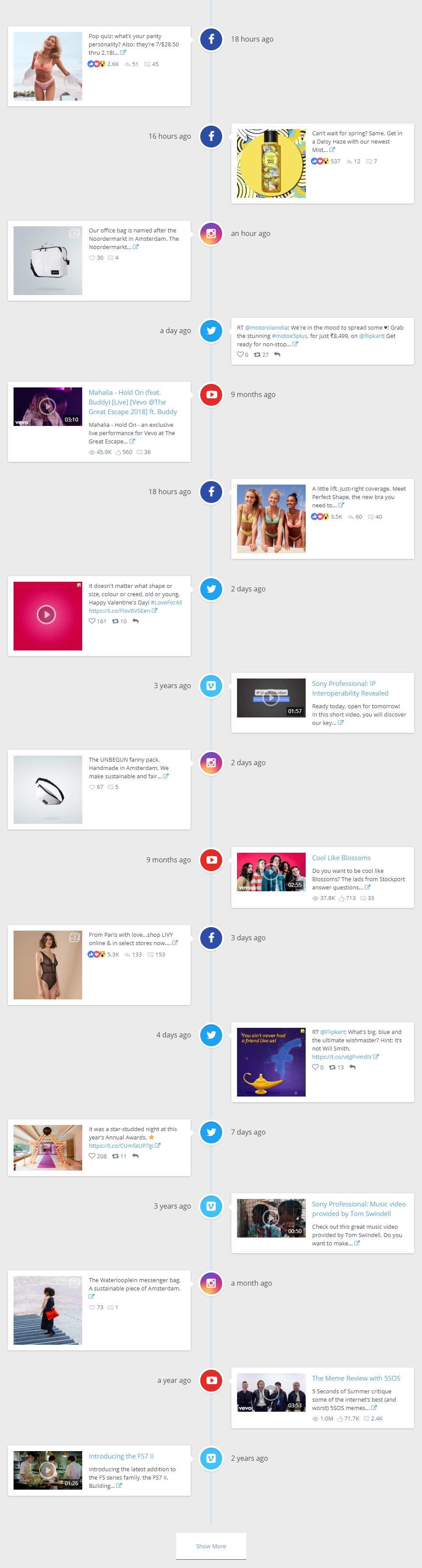 Facebook,YouTube Channel,Vimeo,Twitter,Instagram Social Streams Timeline